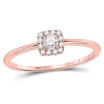 10k Rose Gold Women's Solitaire Stackable Ring