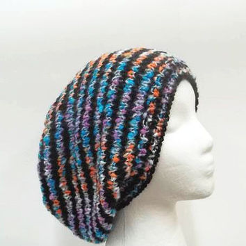 Knitted slouch beanie colorful handmade   5267