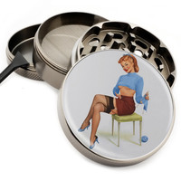 "Pin Up Blue Sweater Knitting - 2.5"" Premium Zinc Herb Grinder - Custom Designed"