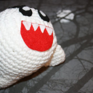 Boo Ghost Crochet Plushie Plush Toy Handmade Stuffy Inspired by Super Mario Video Game