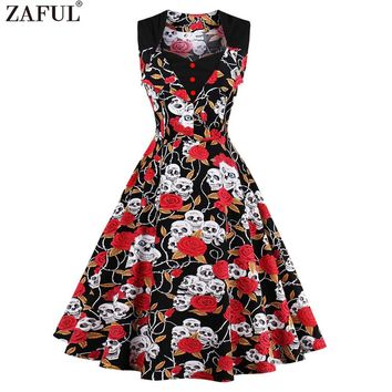 ZAFUL Plus Size S~4XL Women Summer Sleeveless Dress Dot Print/Ghost Pattern Print Swing Party Vacation Dress Feminino Vestidos