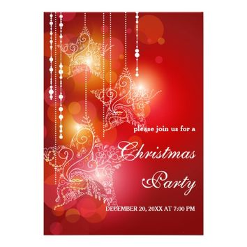 Christmas Glow Hanging Stars Party Invitation
