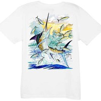 Guy Harvey Island Marlin Ladies Back-Print Tee with Front Signature in Black or White