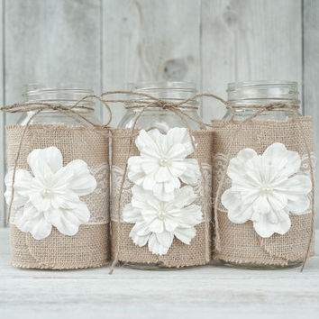 Set of 3. Lace and burlap wedding centerpieces. Lace and burlap wedding. Rustic wedding, barn wedding. Mason jars, burlap mason jars.