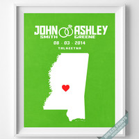 Anniversary, Print, Mississippi, Wedding, Customized, Couple, Personalized, Gift, Map, Custom, Wall Art, Home Decor, Marriage, Love [NO 23]