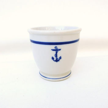 Navy Anchor China Cup / US Navy Watch Standing Mug / Nautical Blue Shaving Mug - Spooner - WWII Military Pottery