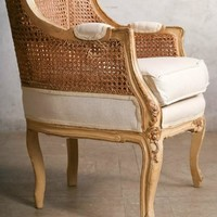One of a Kind Vintage French Style Louis XV Cane Back Bergere Chairs Pair