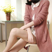 Dark pink sweater Knitwear Mohair dress knitted sweater casual loose dress plus size sweater blouse Cardigan sweater dress long Sweater coat
