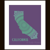 California art map print, purple and teal, typography map poster, purple and green, dorm decor California, kaleidoscope, home decor wall art