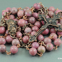 Wire Wrapped Rosary Pink Rhodonite Copper Catholic Rosary