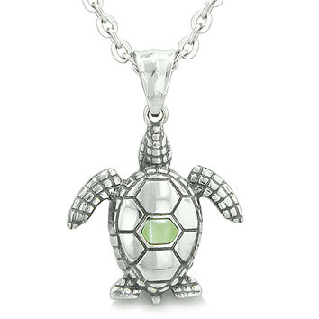 Amulet Sea Turtle Cute Lime Green Cats Eye Crystal Pendant 18 Inch Necklace