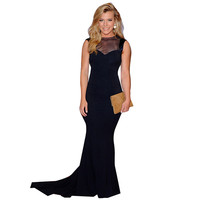 Black Mesh Insert Sweetheart Evening Dress