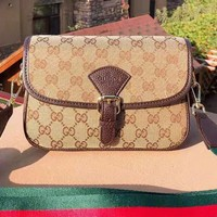 GUCCI fashionable casual lady printed flip cover slant across a shoulder bag