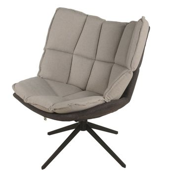 Dillon Fabric Swivel Chair Black Base, Argos/Bistre