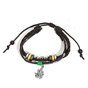 Pot Leaf Bracelet Brown Beaded Leather Silver Tone BD42 Green Marijuana Cuff Bangle Fashion Jewelry