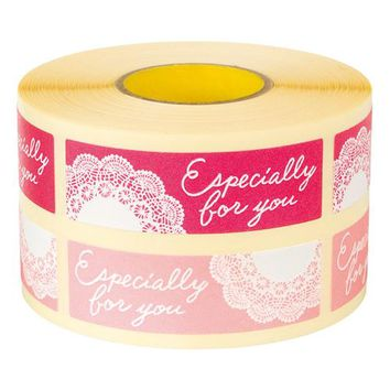 """""""Especially for You"""" Pink Lace adhesive seals stickers labels homemade DIY tags for cookie cake gift packaging decoration"""