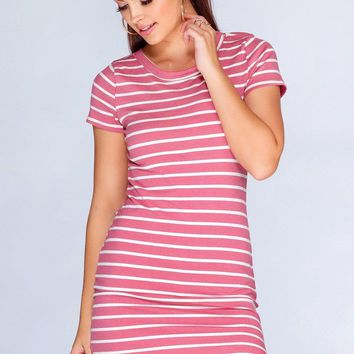 Dahlia Basic Dress   Mauve Stripe