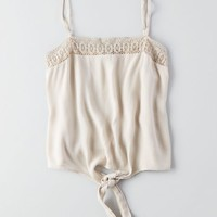 AEO Women's Don't Ask Why Tie Cami (Oatmeal)