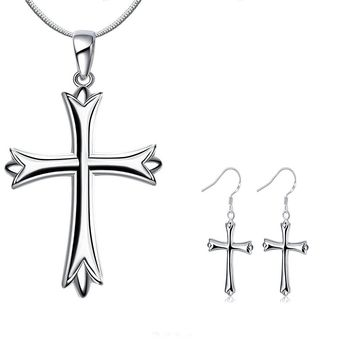 Cross Necklaces For Women Girls Silver Plated Pendant and Stud Earrings Set