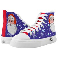 "Blue red ""Santa Claus & Snowfall"" Merry Christmas High-Top Sneakers"