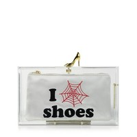 Charlotte Olympia Designer Handbags Clear Pandora Loves Shoes Clutch Box w/Shoe Clasp
