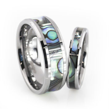 His and Her Tungsten Rings With Mother Of Pearl Inlay