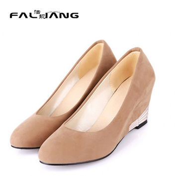 2015 Autumn New Office Ladies Woman Round Toe Faux Suede Wedge Causal Shoes Mid Heels Pumps Classic Plus Size US4.5-10.5