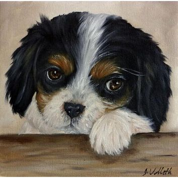 Original Hand Painted Oil Black White English Spaniel Puppy Dog Artist Signed Painting