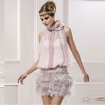 Vestidos De Coctel Ostrich Feather Mini Cocktail Dresses Sexy Bakcless Formal Dress Prom Gowns Vestido de festa curto de luxo