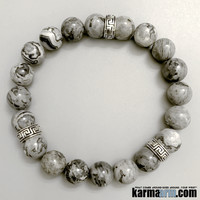 CONFIDENCE: Silver Crazy Lace Agate | Greek Key | Yoga Chakra Bracelet