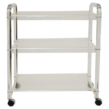 Lucite Bar Cart w/ Chrome Casters