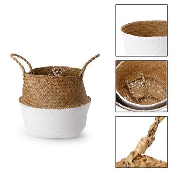 Wicker Laundry Basket Sundries Storage Bag Container Folding Clothes Organizer Home Storage Woven Stand Hanging Laundry hamper