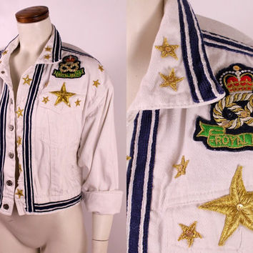 Vintage 80s 90s - Nautical Gold Star Royal Navy Novelty Patch White & Blue Stripe Denim Jean Jacket