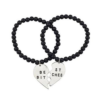 Lux Accessories Black Beaded Best Bitches BFF Best Friends Matching Bracelet Set