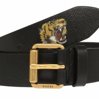 NEW GUCCI CURRENT LUXURY BLACK LEATHER TIGER BUCKLE BELT 95/38