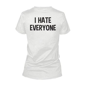 I Hate Everyone Back Print Women's Shirts Graphic Tshirt Short Sleeve Tees