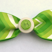 lime green chevron bow with button- back to school hair clip- bright accessories