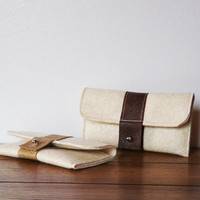 iPhone case felt ivory iPhone sleeve leather strap iPhone Samsung Galaxy Note Wallet Credit card