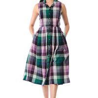 Cotton check waist midi shirtdress