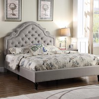 "New Century® Light Gray Upholstered 51"" Inches Padded Headboard Platform Bed"
