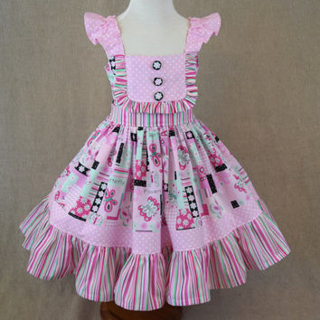 Girls flutter sleeve dress , boutique twirl dress , girl summer dress , toddler boutique , pink butterflies , ready to ship , size 6