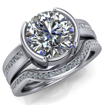 Audrey Round Moissanite Split Bezel Diamond Sides Tapered Solitaire Ring