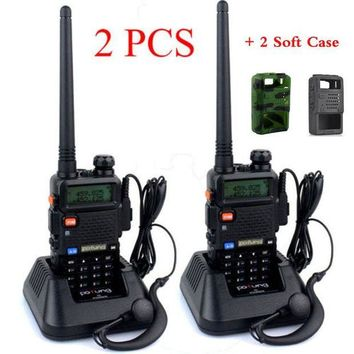 ONETOW 2PCS/LOT baofeng UV-5R dual band Two Way walkie talkie radio transceiver dual display radio communicator UV5R portable+Soft Case