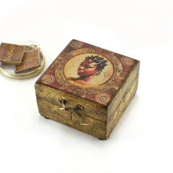 African Spirit Box for jewelry ,Vintage look decoupage ,hand painted jewelry box with an African American ,One of Kind