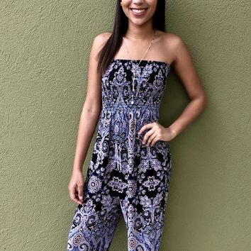 """Free People """"Thinking Of You Jumpsuit""""- Black/ Combo"""