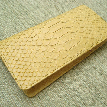 Python Leather Women Wallet with Coin Slot Yellow by mrhanz