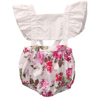 2017 Cute Baby Girl Romper Summer Fly Sleeve Ruffles Floral Rompers Jumpsuit Hollow Out Toddler Kids Clothes Sunsuit Outfit 1-5Y