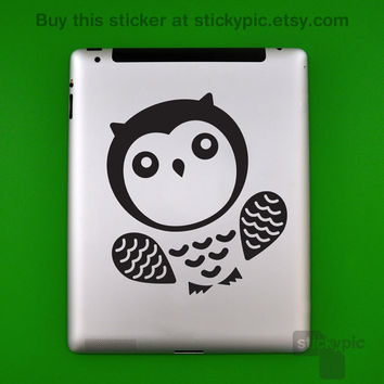 iPad - Mr Owl (Laptop Decal Removable Vinyl Laptop Sticker Computer Decal PC Apple Macbook Mac Geekery Wall Sticker Nature)
