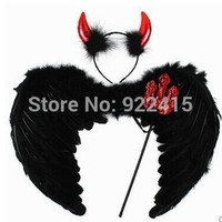 Performance props ball cosplay Party costume devil Feather Fairy Angel Wings set  halloween decoration supplies for Adults Kids