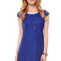 Laced with Flowers Dress in Royal Blue :: tobi
